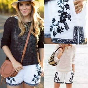 J CREW Black and White Embroidered Shorts